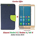 Goelectro Redmi 4 Flip Cover - For Luxury Mercury Diary Wallet Style Blue Green Flip Cover Case for (Redmi 4 - May 2017 Launch) Redmi 4 Flip Cover + Premium 2.5D Curved 9H Hardness Tempered Glass screen protector (Blue-Gold)