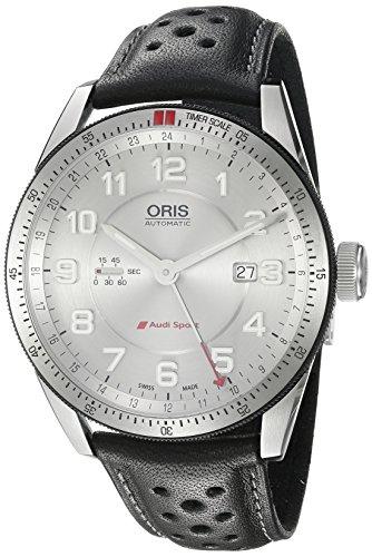 ORIS MEN'S 44MM BLACK CALFSKIN BAND STEEL CASE AUTOMATIC WATCH 74777014461LS
