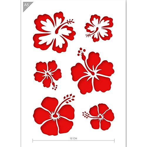 QBIX Aloha Blumen Schablone - Blumen Schablone - Hawaii Blumen Schablone - A5 Größe - Wiederverwendbare Kinder freundlich DIY Schablone zum Malen, Backen, Basteln, Wand, Möbel -