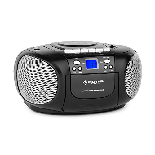 auna BoomBoy • CD-Radio • Boombox • Kassettenplayer • programmierbarer MP3- / CD-Player • Kassettendeck • UKW-Radio • MP3-fähiger USB-Port • AUX • Netz- / Batterie-Betrieb • tragbar • schwarz