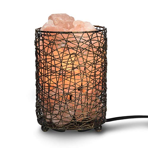 Navaris lampada con sale himalaya e cestino - luce da notte con cristalli rosa di sale himalayano - lampada minerale con dimmer e 2x lampadine e14