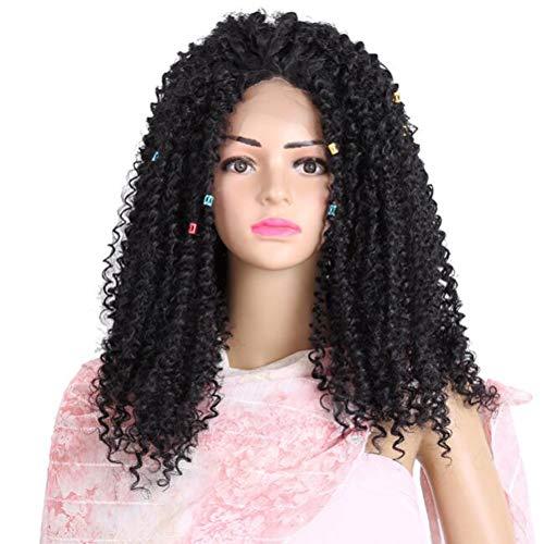 Vordere Spitze Perücke Damen Natürlich schwarz Kleine locke Hitzebeständig Synthesis Perücke Afrikanisches lockiges langes lockiges Haar Jerry Curl 14 Zoll