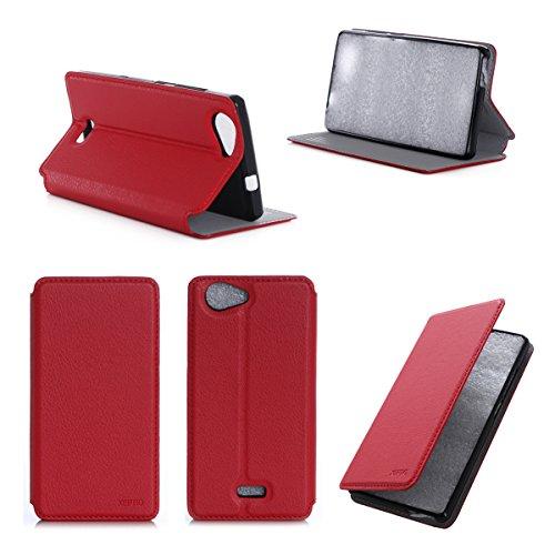 3g Flip Folio (Wiko Pulp 3G / 4G Tasche Leder Hülle rot Cover mit Stand - Zubehör Etui Wiko Pulp 3G / 4G Flip Case Schutzhülle (PU Leder, Handytasche red) - XEPTIO accessories)