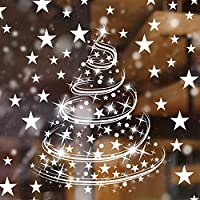 Boao Christmas Tree Window Clings Decals Christmas Snowflake Window Clings Xmas Stars Window Decorations Stickers Decal for Christmas Decorations Supplies, 8 Sheets