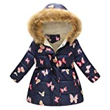 BaZhaHei Girls Boys Coat Toddler Baby Hooded Windproof Overcoat Winter Floral Thick Warm Jacket Leopard Print Down Parkas Zipper Outerwear