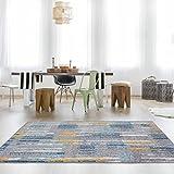 The Rug House Moderna Alfombra pintoresca con diseño Abstracto Color Amarillo Ocre Mostaza Dorado Azul Huevo de Pato Verde Azulado Crema Gris 80cm x 150cm (2' x 3'7')