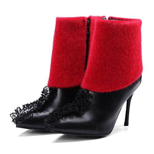 UH Femmes Bottines à Cheville Chaussures Talons Haut Aiguilles de 10 CM Elegantes Sexy et en Mode Noir