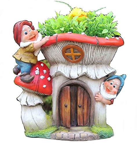 291/5000 design xl nana con fioriera 91187 - decorazione di 2 statuette di gnomo da giardino con 27 cm di altezza