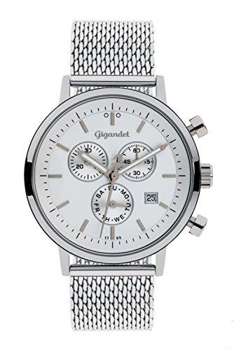 Gigandet Classico Herren Armbanduhr Chronograph Analog Quarz Silber Weiß G6-011