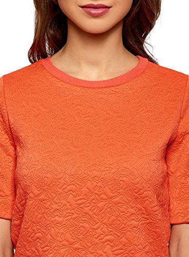 oodji Collection Damen Sweatshirt aus Strukturiertem Stoff mit Kurzen Ärmeln Orange (5500N)