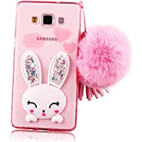 Sunroyal® Samsung Galaxy A7 SM-A700F Cover 3D Lovely Coniglio Custodia in Silicone Foldable Rabbit Bunny Ear Case Crystal Clear Trasparente Soft Morbido TPU Bumper Shockproof Back Protector con Orecchio Supporto e Cinghia nappe Hairball Shaggy (Samsung Galaxy A7 SM-A700F 5.5