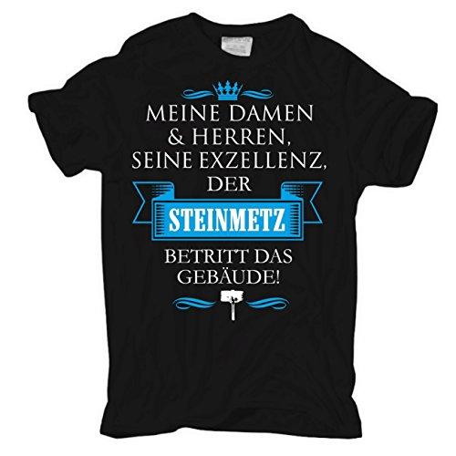 Männer und Herren T-Shirt Seine Exzellenz DER STEINMETZ Schwarz