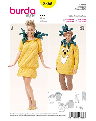 Burda Damen Schnittmuster 2365-Kostüm Ananas weiß (Diy Ananas Kostüm)