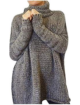 Jersey Mujer Elegantes Moda Camisas Otoño Invierno Cuello Alto Color Sólido Casuales Mujeres Manga Larga Anchos...