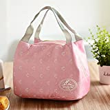 EMVANV Pink Butterfly Reusable Insulated Lunch Bag with Zipper Portable Foldable Canvas Lunch