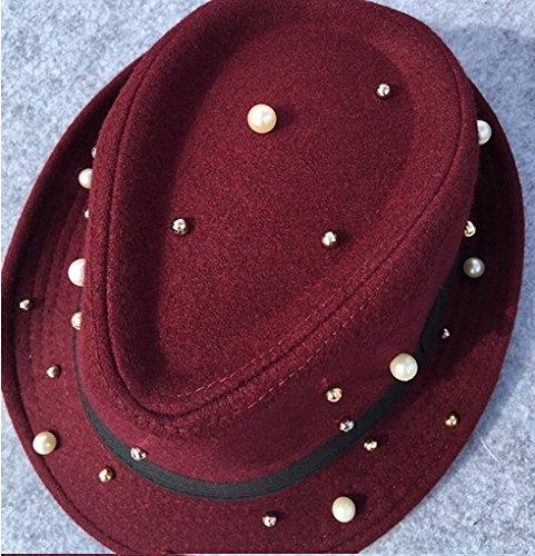 Winter Hat Knit Russian Cute Trapper Warm Cool Girl Women Wine Pearl Dotted