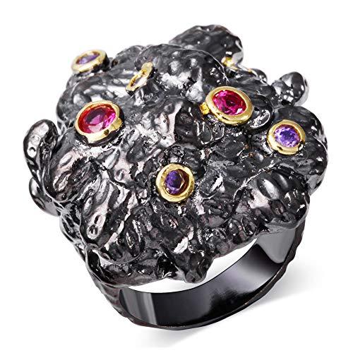 LILIMO Ringe Vintage-Schmuck Schwarz-Gold Platin Hochzeits-Gotik-Zeige Finger Ring Zircon Weibliche Schwarze Kupferring Größe 6-9,9 (Gelbe 14kt Gold Engagement Ring)