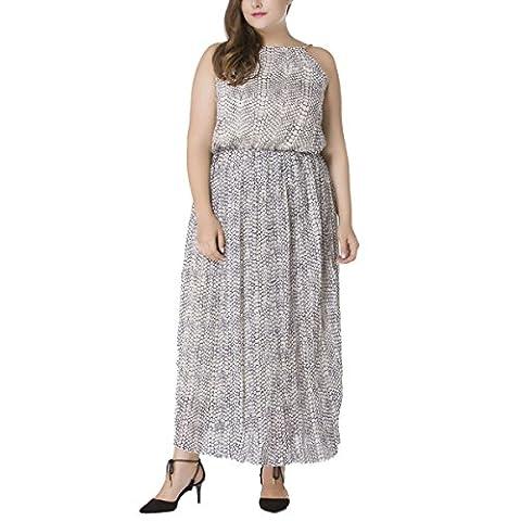 Long White Halter Dress - Femmes Imprimé Halter Plissé Sans Manches De