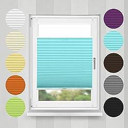 Home-Vision Plissee Faltrollo ohne Bohren mit Klemmträger / -fix (Türkis, B25cm x H100cm) Blickdicht Sonnenschutz Jalousie für Fenster & Tür