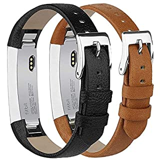 Tobfit Fitbit Alta Strap Alta HR Straps Leather Stainless Steel Secure Buckle Replacement Band for Fitbit Alta and Alta HR (Black & Brown)