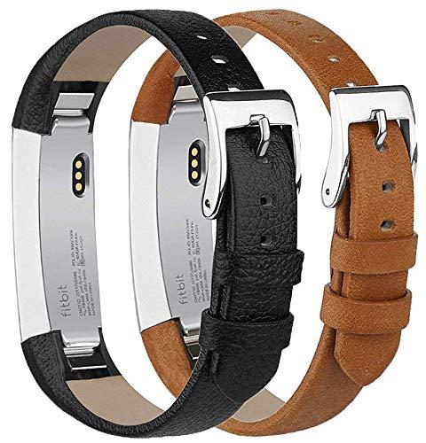 Tobfit Kompatibel mit Fitbit Alta Armband Fitbit Alta HR Armband (2 Pack) Lederarmband Edelstahl Schnalle Ersatzarmbänder für Fitbit Alta und Fitbit Alta HR (Kein Tracker) (Schwarz & Braun)