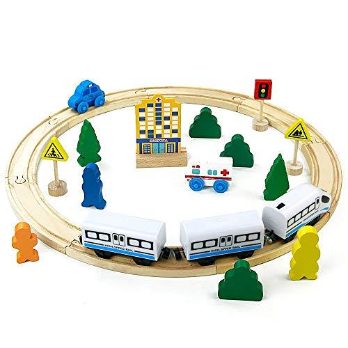 jerryvon Circuit Bois Train Electrique Magnétique Locomotive Batterie Circuit Voiture Bois Jeu de Construction pour Enfants 3 4 5 Ans