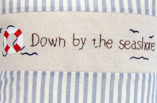 Kissenbezug Hilke 40x40cm Kissenhülle maritim rettungsring vintage Sommer Streifen blau weiß gestreift Leinen Leinenoptik Dekokissen -
