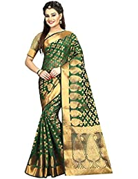Silk Zone Women's Banarasi Silk Green Silk Saree With Blouse Piece(SILKZ00128_Green_Free Size)