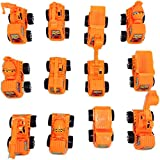 #7: Blossom Construction Truck Die Cast Toy Playset with Pull Back Function (Set of 12 Small Size Trucks) for Kids, Orange