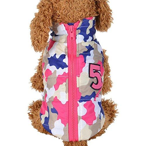 ter Warm Gepolsterte Haarverdichtung Camouflage Weste Coat Kostüme Hunde Haustier Kleidung Casual Medium Rot ()