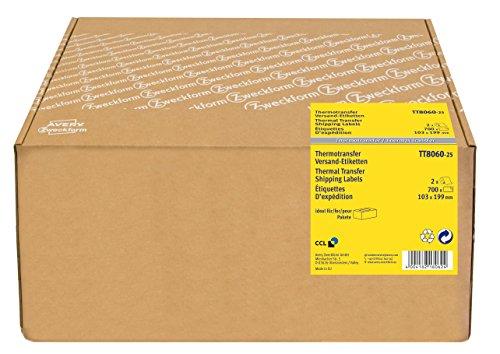 Avery Zweckform TT8060-25 Thermotransfer Versandetiketten (103 x 199 mm, 2 Rolle/700 Etiketten) weiß