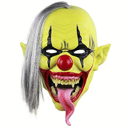 JNKDSGF HorrormaskeClown Kostüm Maske Gruselig Böse Gruselig Halloween Clown Maske Adult Ghost Festliche Party Maske Zubehör Deko-Grüngesicht (Böser Clown Kostüm Zubehör)