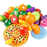 Toyvian 24 Stücke Kinder Schneiden Spielzeug Set Küchenspielzeug Puppengeschirr mit Obst Gemüse Pizza für Baby Mädchen Jungen