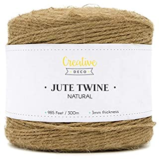 Creative Deco Twine Brown Garden Jute String | 985 Feet / 300 m | 3 mm Thickness 3ply | Big Roll Natural Thick Strong | Perfect for Decoration, Floristry, Household, DIY Arts Crafts & Packing