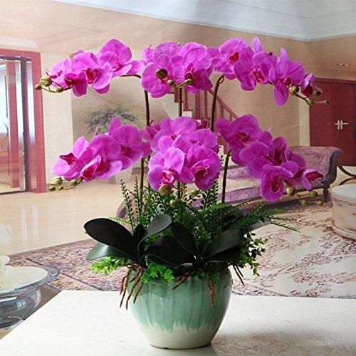 Jnseaol Kunstblumen Orchidee Keramiktopf Diy Hochzeit Hotel Party Küche Fensterbank Eine Große Dekoration Muttertag Geschenk Lila-08