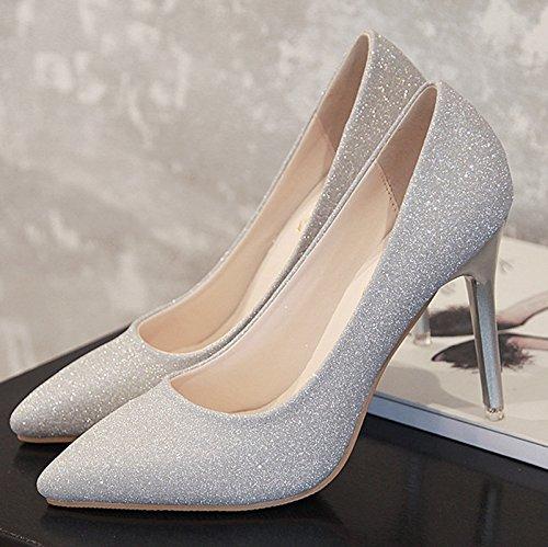 Hochzeit Heels Silberne (Silberne Spitze des high-heel Schuhe fein mit 亮 Bankett begleitet Mutter Hochzeit Braut Hochzeit Schuhe schwarz Schuh, 37, Silber 9 cm)