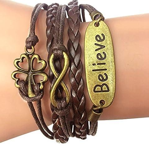 temps Usurier rétro tressé Bronze Trèfle à quatre feuilles Believe 2coeurs multicouche Bracelet Bracelet