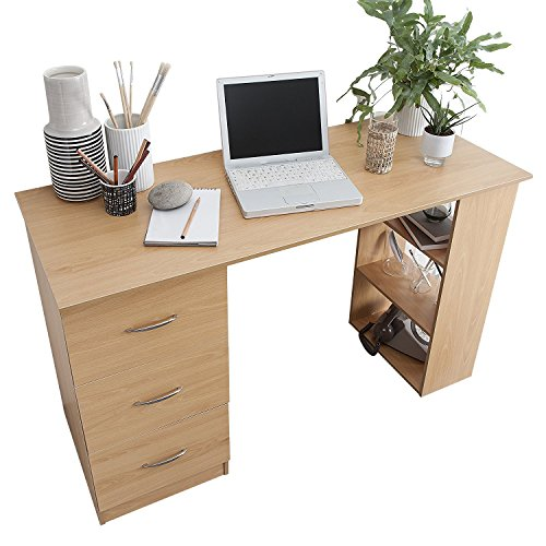Laura James Computer Desk - 3 Drawers   3 Shelves - Home Office Table Workstation (Beech)