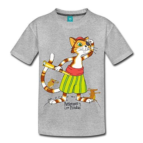 (Spreadshirt Pettersson Und Findus Piraten Abenteuer Spiel Kinder Premium T-Shirt, 134/140 (8 Jahre), Grau meliert)