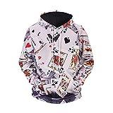 MallFun Männer 3D Print Hoodie Kartentasche Poker Plus Size Langarm Lässige Kapuzenpullover Pullover Top