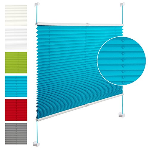 EUGAD PS5617ts11 , Plissee Jalousie Klemmfix ohne Bohren , für Fenster und Tür , Faltrollo verspannt , Verdunklungsplissee easyfix , 95x130 cm , Türkis