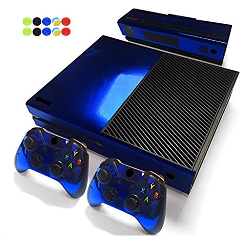 Skin for XBOX ONE - Morbuy Vinyl peau Protective Autocollant Decal Sticker pour Microsoft XBOX ONE console + 2 Autocollant Manette et 1 autocollant Kinect Set + 10pc SiliconeThumb Grips (Bleu Brillant)