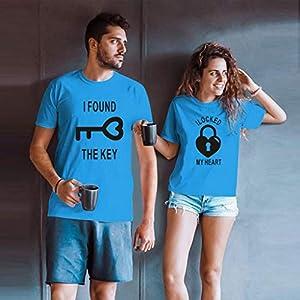 Inawayls Valentine's Tops für Pärchen – The Key & My Heart Boyfriend Girlfriend Lovers Tshirt für Seine & Ihr Gifts