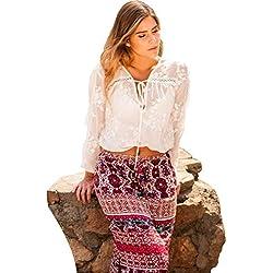SEGALA Bohemia de Cintura Alta Hippie con Flores Falda Larga Verano para Mujer Rojo ES36