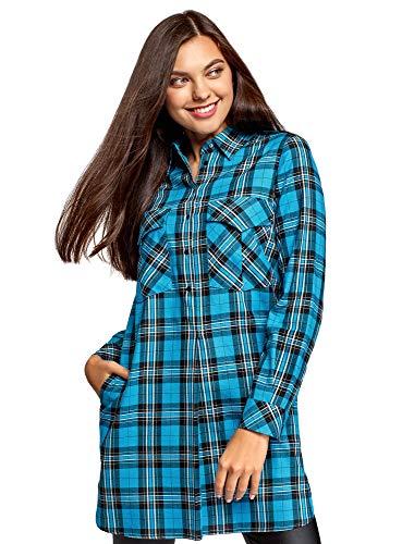 oodji Ultra Mujer Vestido Camisa con Bolsillos, Turquesa, ES 38 / S