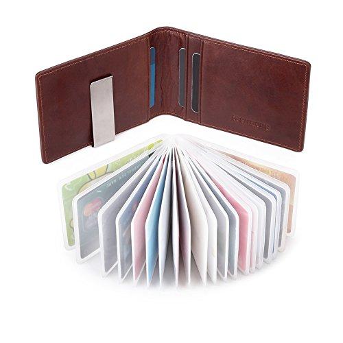 TEEMZONE Geldbörse Herren Leder RFID Schutz 22 Kartenfächer mit Geldscheinklammer Leder Portemonnaie Männer mit Münzfach Geldbeutel Büffelleder