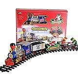 Weihnachtszug Elektrische Spielzeugeisenbahn - Klassische Lokomotive-Modellbahn-Sets mit echtem Rauch authentische Lichter und Sounds - Favourall