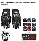 #8: Best Quality Probiker Gloves New Fashion Cycling Bike Bicycle Motorcycle Shockproof Foam Padded Outdoor Sports Full Finger Riding Gloves (Black) With Free Riding Neck Face Mask Protection Tube Head Bands (X-Large)