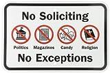 Smartsign Sécurité Sign, Legend'sans Soliciting sans exceptions' avec Graphic, Noir/rouge sur blanc, 12' x 18', Black/Red on White, 1