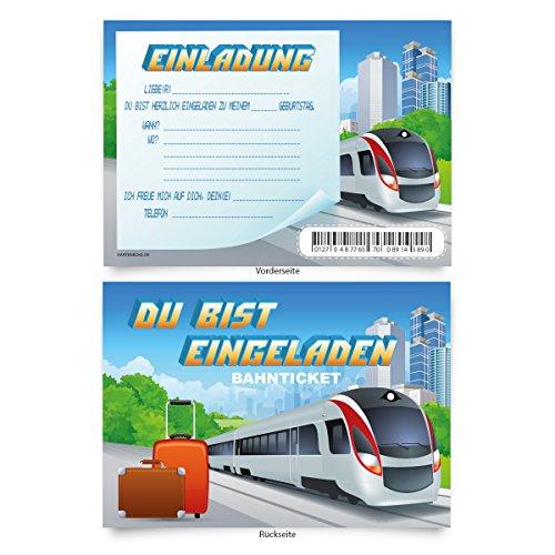 """Preisvergleich Produktbild Geburtstagskarten (8 Stück) """"Bahnticket"""" zum Einladen Einladungskarten Karten"""